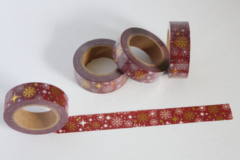 Snowflakes Washi with Gold Foil Accents on Maroon Washi Tape