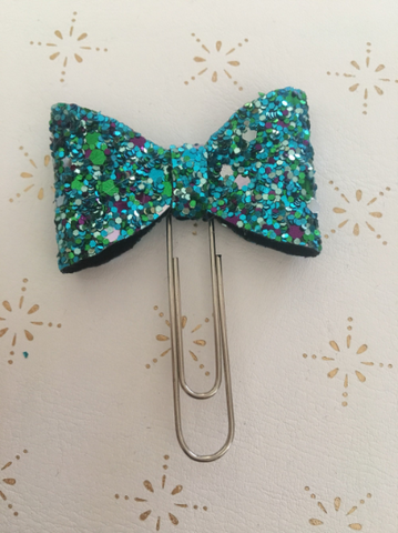 Mermaid Speckled Chunky Glitter Bow Clip