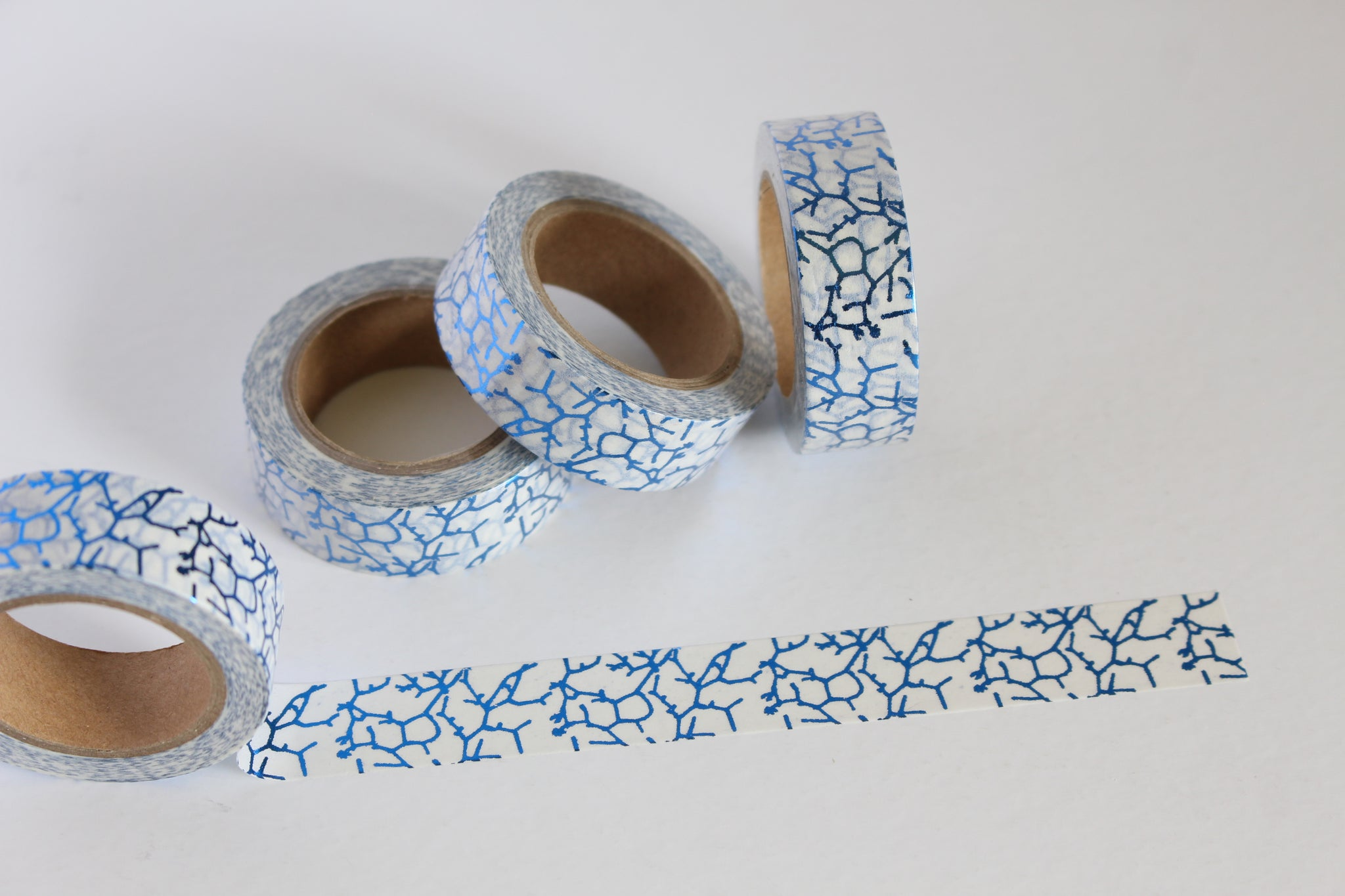 Electric Blue Crackle Print Washi Tape