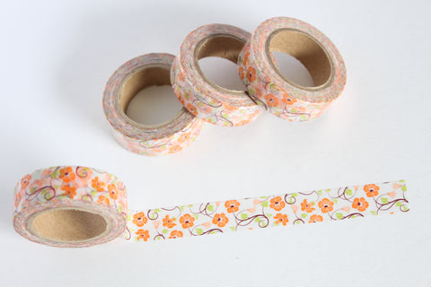 Orange Floral Vines Washi Tape