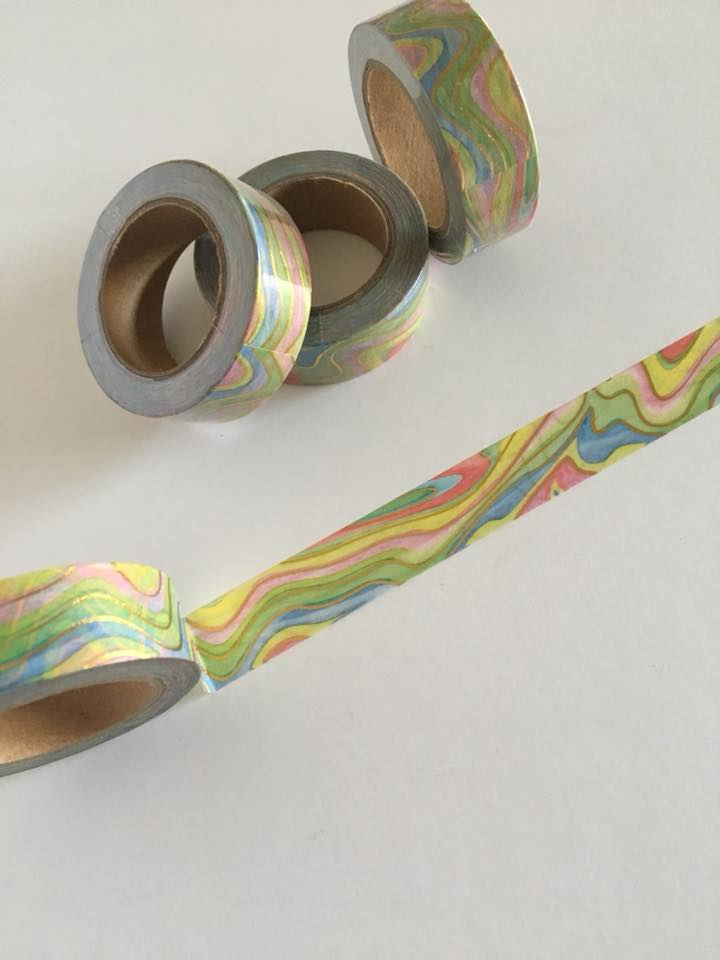 Pastel Rainbow Swirl with Gold Foil Washi tape