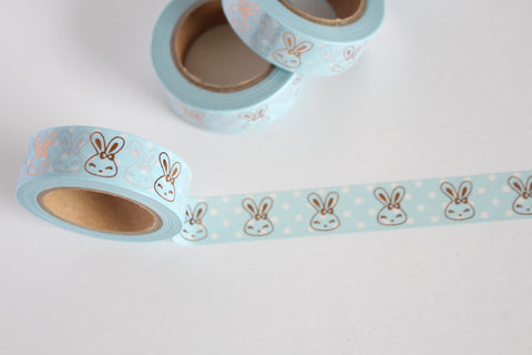 Pastel Blue and White Polka Dots Print with Rose Gold Bunnies Washi Tape