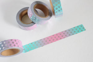 Pastel Pink and Blue Washi Tape with Silver Foil Accents