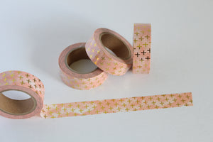 Gold Foil Accents on Marbled Peach Washi Tape