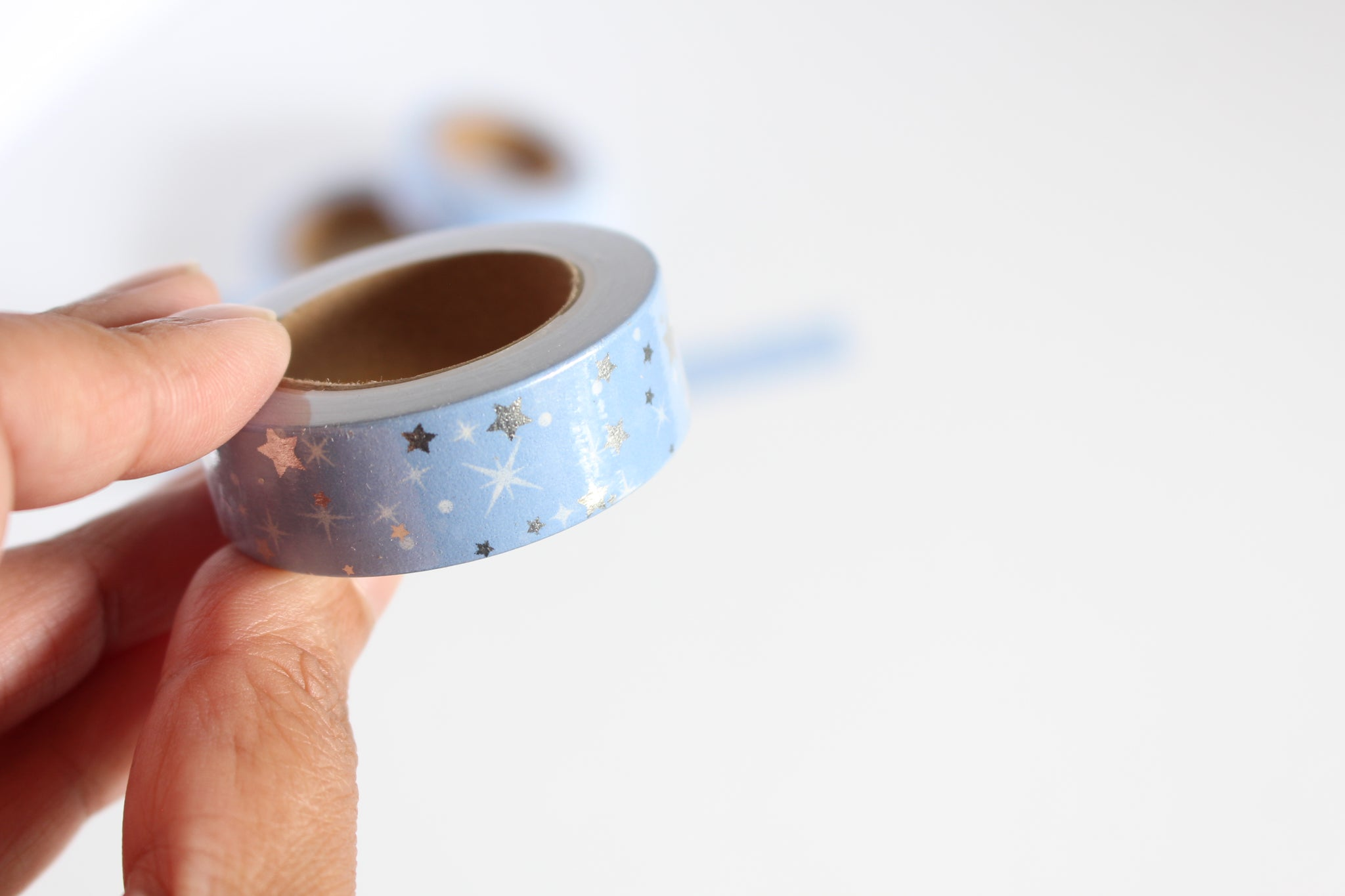 Periwinkle Blue with Silver Foil Stars Print Washi Tape