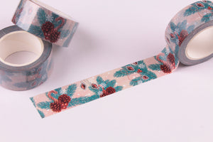 Pinecones and Candy Canes wide Washi Tape - Wide Washi - 20mm