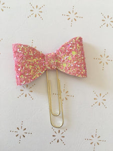Pink Glitter Planner Bow Clip