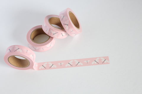 Pink with White Dragonfly Print Washi Tape