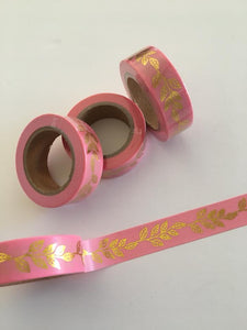 Pink with Gold Foil Vines Washi tape