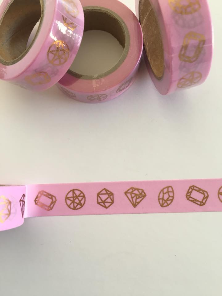 Pink with Rose Gold Foil Jewels Washi tape