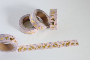 Gold Foil Reindeer on Pale Pink Washi Tape