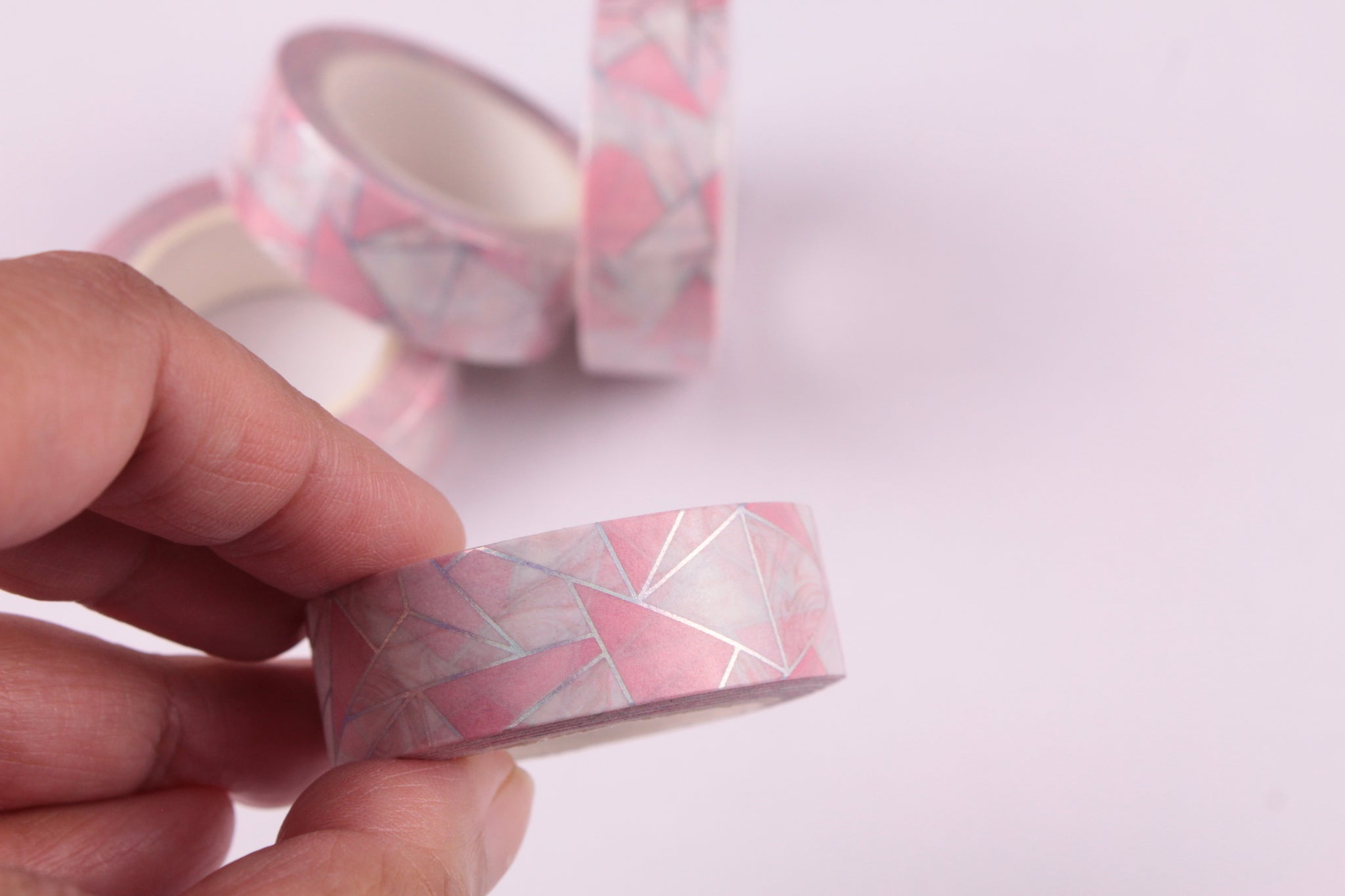 Pink Geometric Print with Silver foil washi tape
