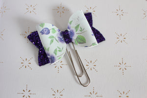 Purple Floral Planner Bow Clip