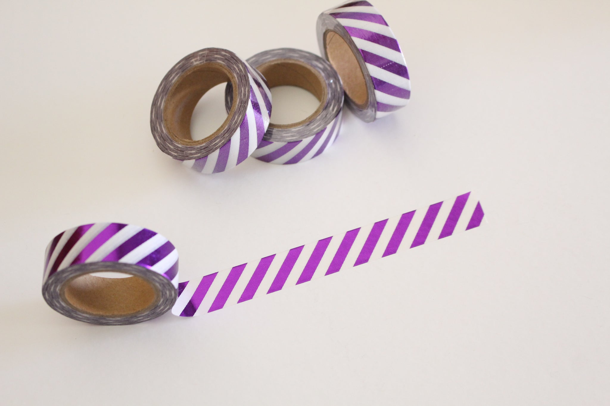 Metallic purple stripes washi tape