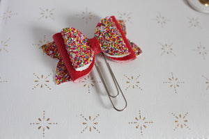 Red Sprinkles Planner Bow Clip