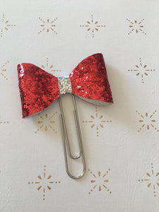 Red and Silver Glitter Bow Clip