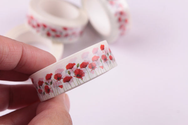 Red Poppies Washi