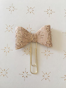 Rose Gold Lace Glitter Planner Bow Clip