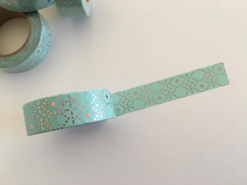 Rose Gold Dotted Foil on Mint Washi tape