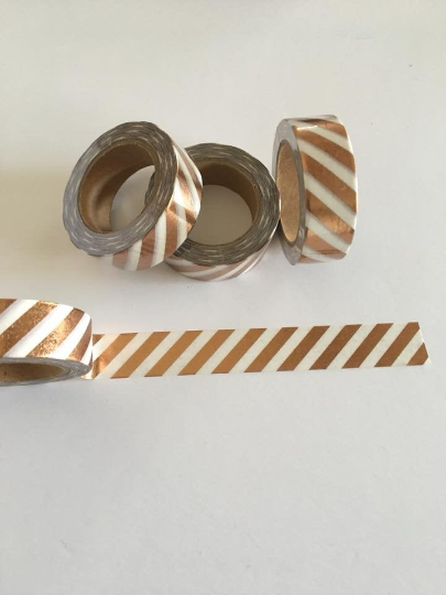 Rose Gold Foil Stripes Washi tape