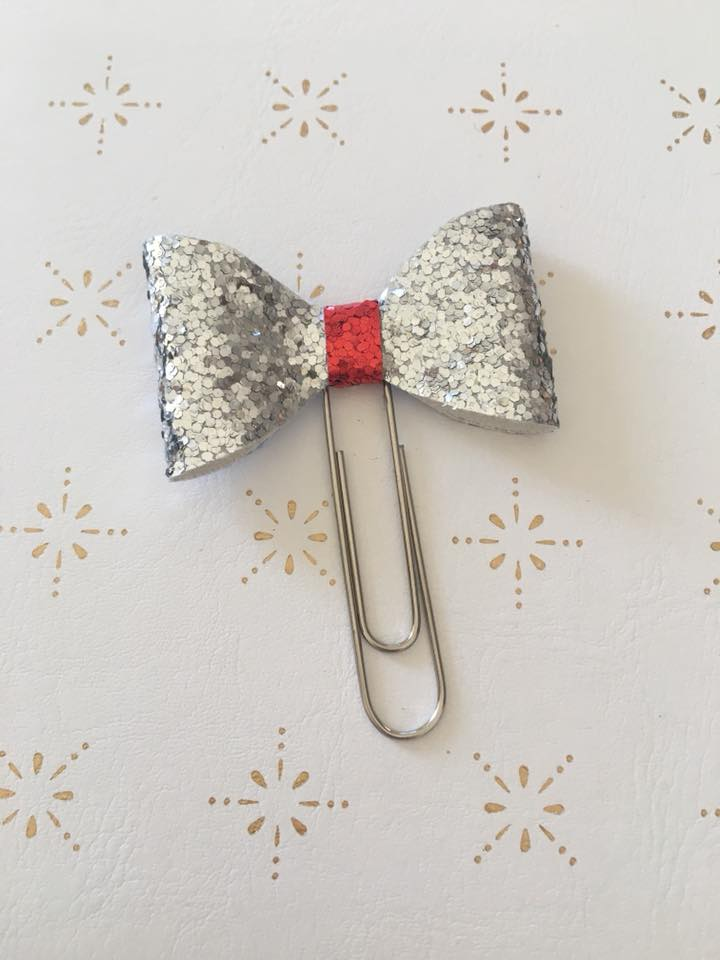 Silver and Red Glitter Planner Bow Clip