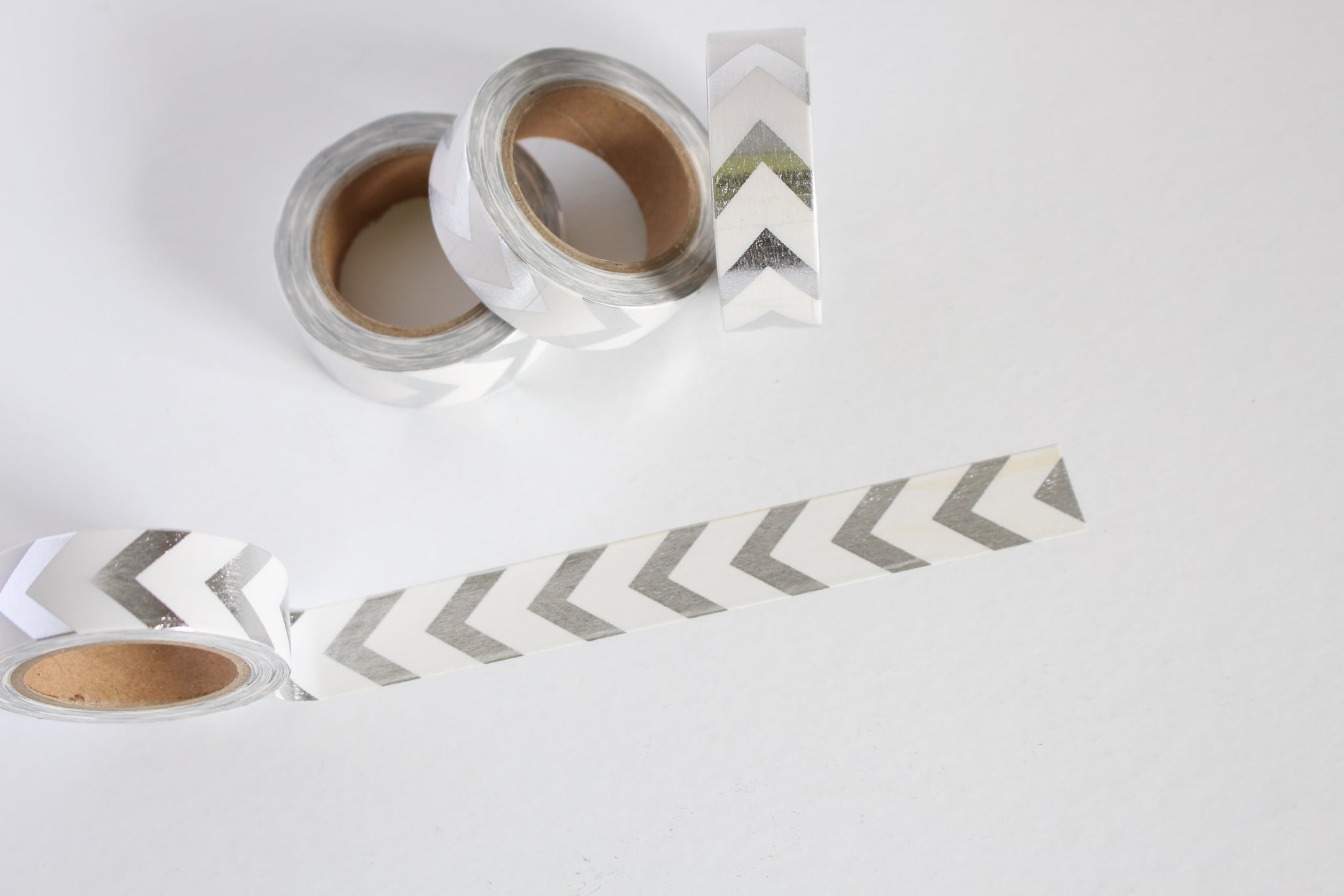Silver foil and white chevron washi tape