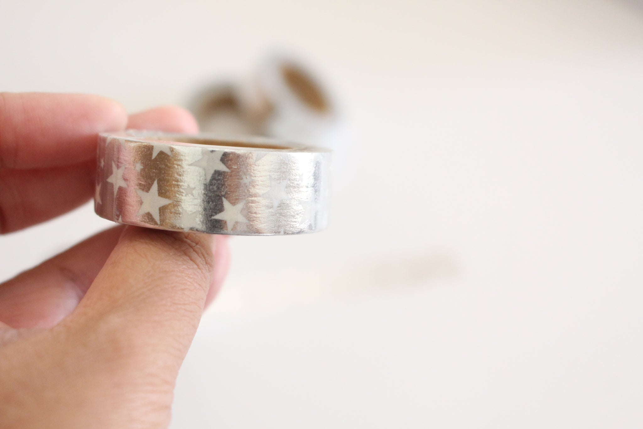 Silver foil with white stars washi tape