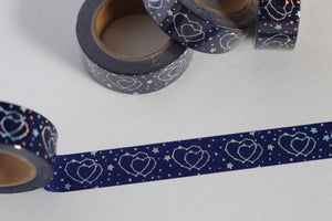 Silver Foil Hearts on Midnight Blue Washi Tape