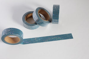 Silver Foil Snowflakes on Blue Washi Tape