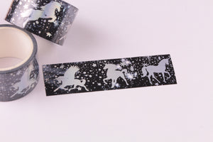 Silver Foil Unicorn Washi Tape - Wide Washi - 30mm