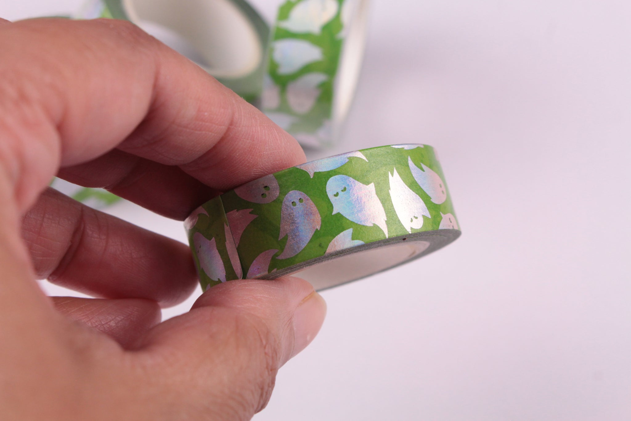 Silver Foil Cute Ghosts washi tape