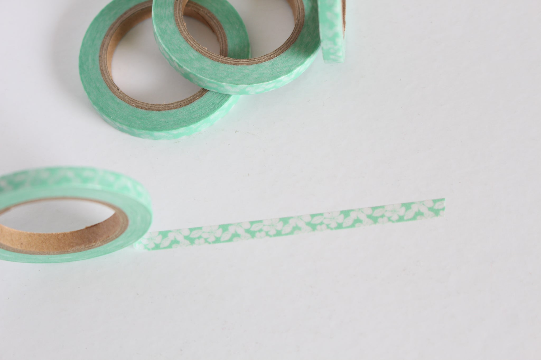 Skinny Pastel Green and White Floral Print Washi Tape