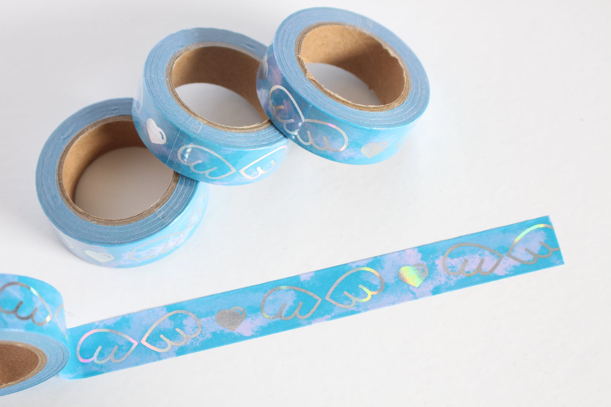 Sky Blue with Holographic Foil Angel Wings and Heart Print Washi Tape