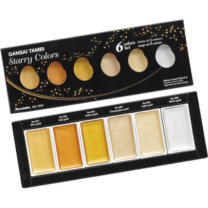 Kuretake Gansai Tambi Watercolour Set - Starry Colors - 6 colors set
