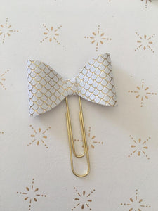 White and Gold Mermaid Bow - Planner Clips