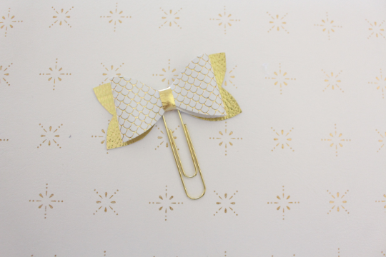 White and Gold Mermaid Planner Bow Clip