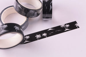 White Coconut Palm Trees on Black Washi Tape