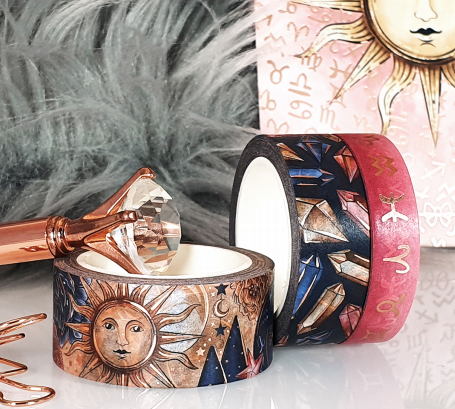 Wisdom of Zodiac Washi Tape Collection - with Rose Gold Foil Accents