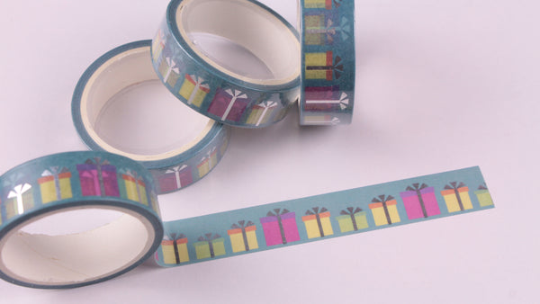 Wrapped Gift Boxes washi tape with Silver Foil accents