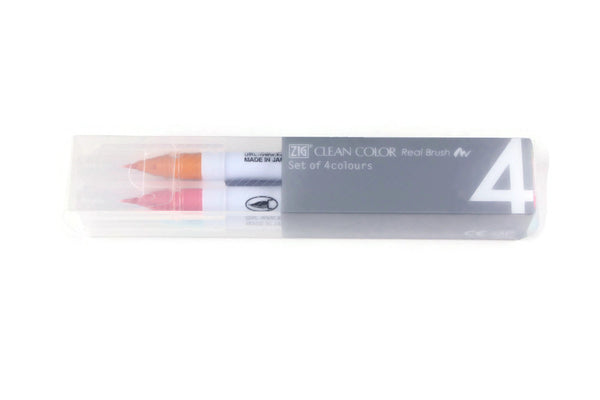 Kuretake - ZIG - CLEAN COLOR Real Brush - Set of 4 - PALE colours