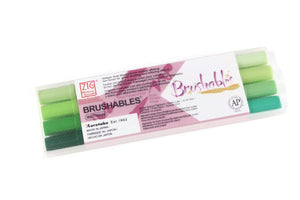 Kuretake - ZIG MEMORY SYSTEM BRUSHABLES - GREEN (Set of 4)
