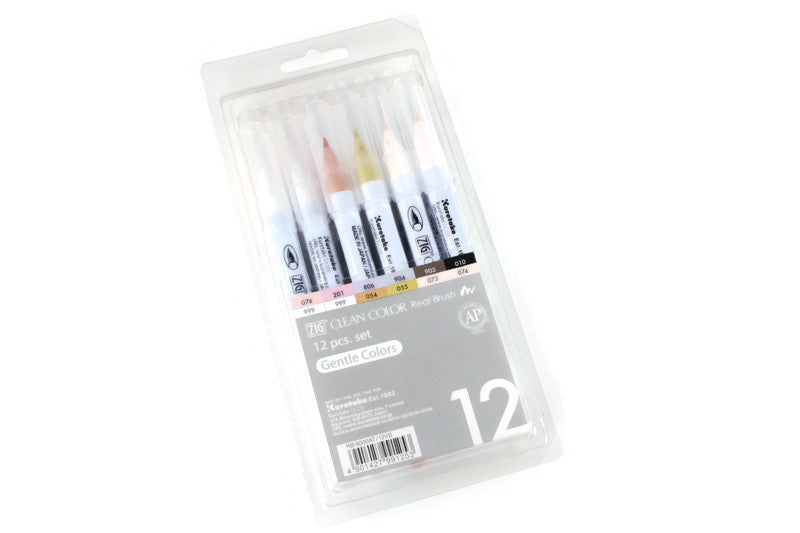 Kuretake - ZIG - CLEAN COLOR Real Brush - PALE colours - Set of 12