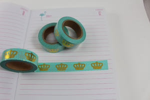 Crown washi tape, Gold foil washi tape