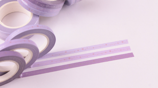 Foil Stars on Shades of purple Washi Tape, Skinny Washi tape