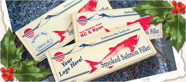 Business holiday gift of wild smoked salmon