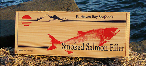 wild smoked salmon packaged in great wooden box.