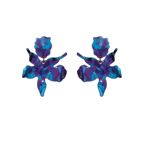 Electric Blue Small Paper Lily Earrings