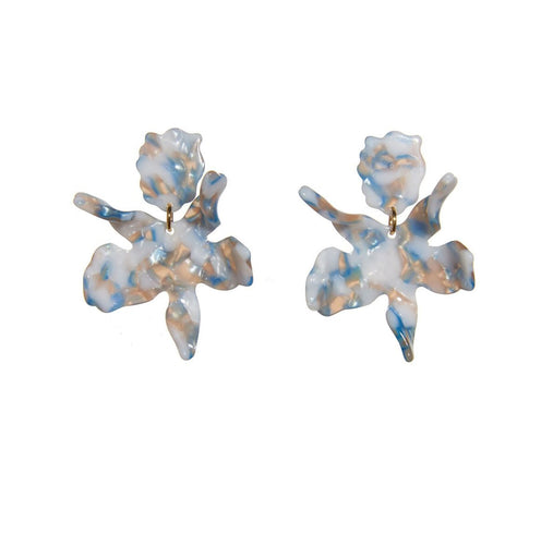 Cloudy Blue Small Paper Lily Earrings