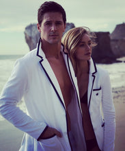 Load image into Gallery viewer, Men's White Toweling Blazer with Black Trim
