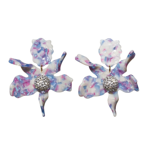 Amethyst Crystal Lily Clip On Earrings